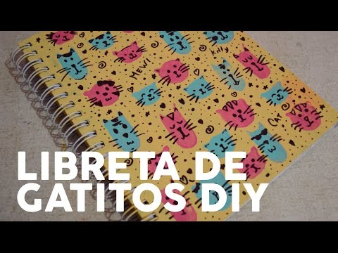 DECORA TU CUADERNO - ESTAMPADO DE GATITOS - DIY - PP ARTS -