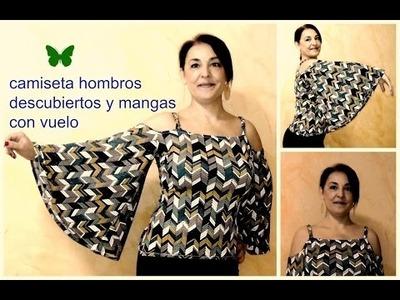 DIY:CAMISETA DE HOMBRO DESCUBIERTO Y MANGA CON VUELO