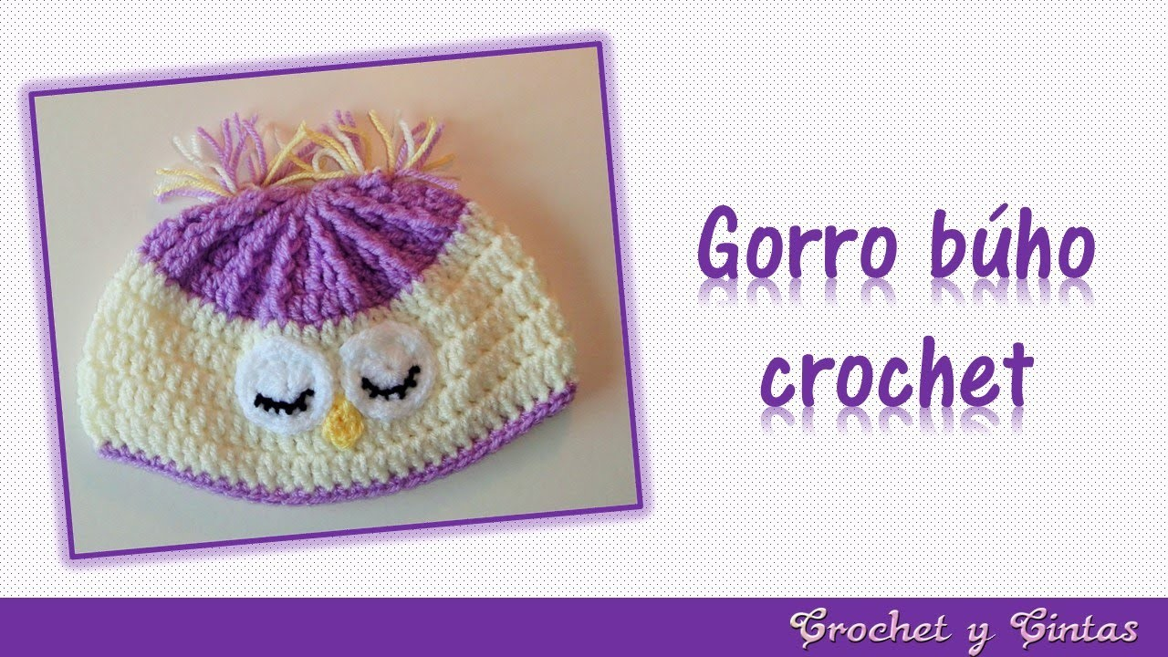 Gorro búho dormido tejido a crochet (ganchillo)