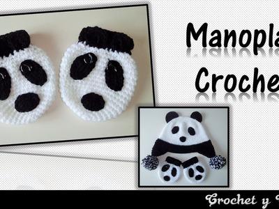 Manoplas - mitones oso panda para niños tejidas a crochet
