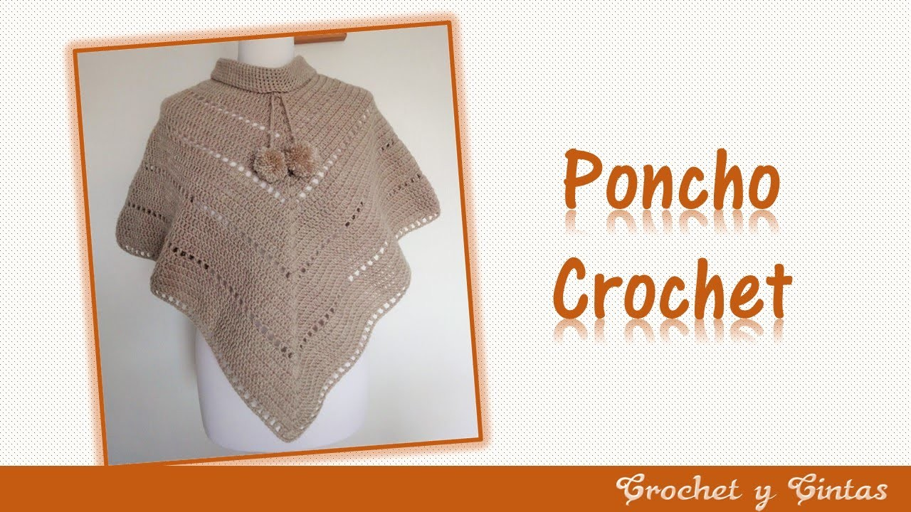 Poncho estilo V tejido a crochet (ganchillo)