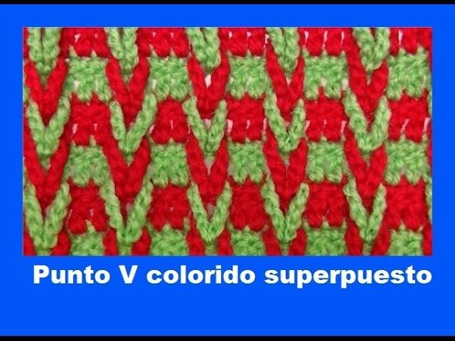 Punto V colorido superpuesto- Aros entrenzados.