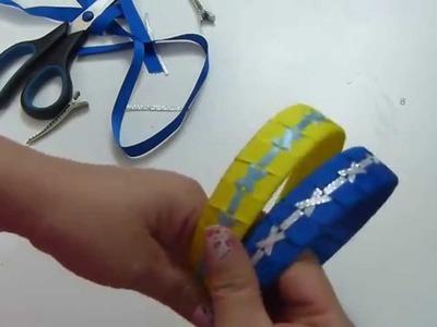 DIY. Como trenzar o tejer  Diadema con cinta  paso a paso -  tutorial vinchas trenzadas