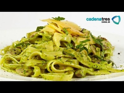 Receta de pasta de pesto con cilantro cremosos. Receta de pasta. Receta de pasta de pesto