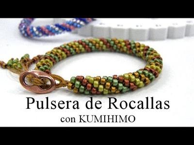 Abalorios - Pulsera de Rocalla con Kumihimo