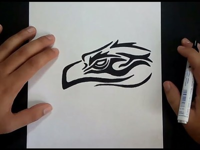 Como dibujar un aguila tribal paso a paso | How to draw a tribal eagle