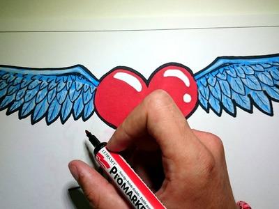 Como dibujar un corazon con alas