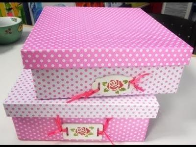 Como forrar una caja de carton con cartulinas - Maria Jose Roldan