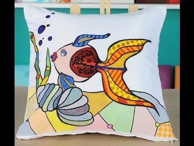 Como pintar sobre tela - Almohadon de raso - Lyly Guedikian - Monitor