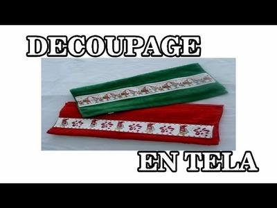 MANUALIDADES TOALLAS NAVIDEÑAS CON DECOUPAGE EN TELA