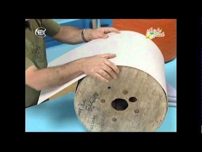 Manualidades Van Gogh - Puf (taburete) con carrete de cable parte 1