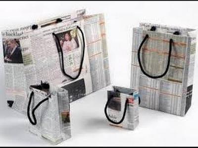 Tutorial bolsa de regalo de papel de periodico