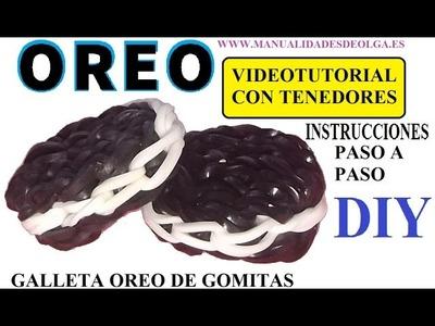 COMO HACER UNA GALLETA OREO DE GOMITAS CON DOS TENEDORES. VIDEO TUTORIAL SIN TELAR
