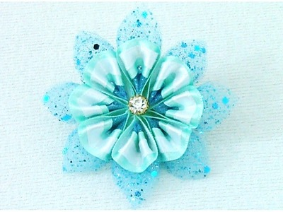 DIY Kanzashi Flores frozen en cintas - DIY Kanzashi flower frozen in ribbons