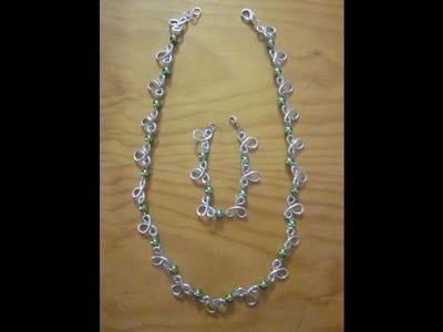 Conjunto de collar y pulsera de alambre de aluminio