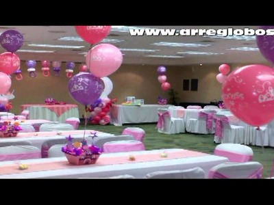 Decoracion con globos baby shower princess