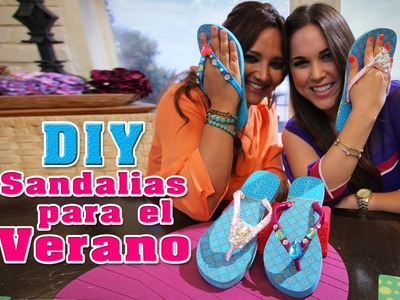 DIY: Cómo decorar sandalias. How to decorate Flip Flops - Fun DIY's con Karla