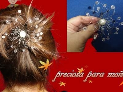 Flor de alambre,perlas y swarosky para moño de bailarina