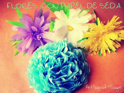 Flores con papel seda-chino-de arroz