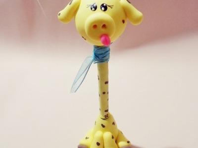 Manualidades en porcelana fria FACILES- Jirafa paso a paso - DIY Penholder giraffe Cold porcelain