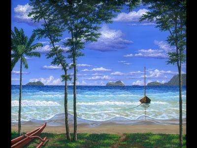 Pintar La Playa Tropicale Con Acrilicos Sobre Tela