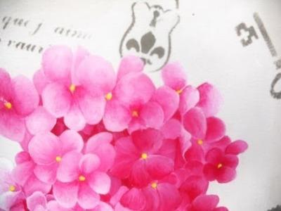 Como pintar cuadro de Hortensias - Mabel Blanco - Pinceles Silver Falcon