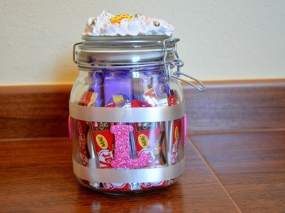 Detalle para regalar: bote de cristal decorado + chocolates