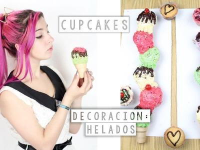 HELADOS DE CUPCAKES ✩ decoración. receta - Ann Look