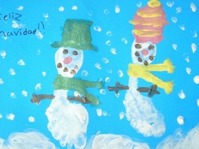 •• Piecitos de Nieve. Técnica Pintura con crema y Pies ••