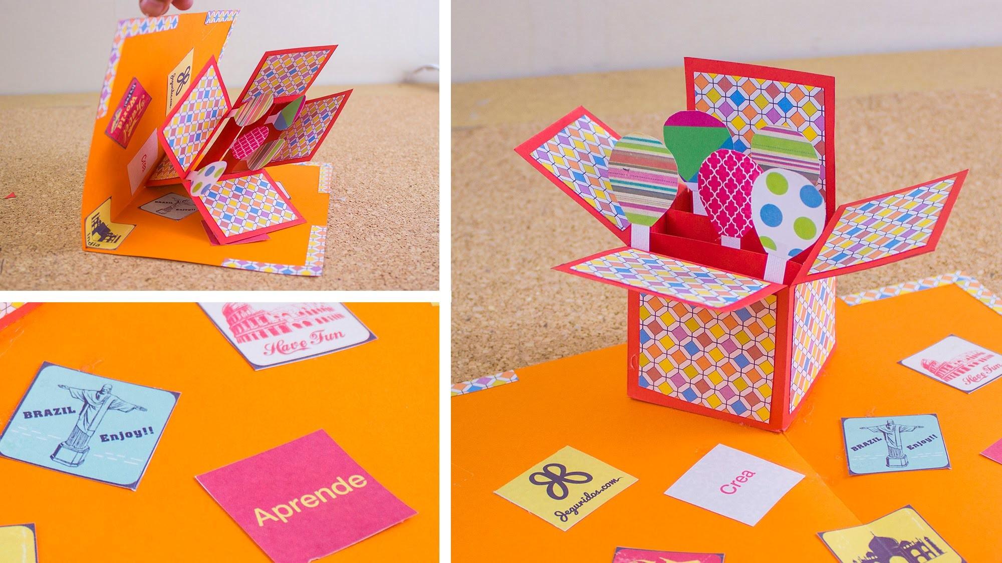 Tarjeta in pop up box jeguridos my crafts and diy projects - Como realizar tarjetas navidenas ...