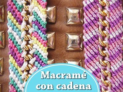 Brazalete cute de macramé con cadena