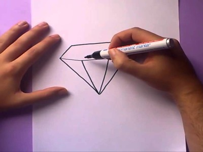Como dibujar un diamante paso a paso | How to draw a diamond
