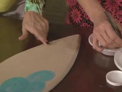 Pintar sobre  Telgopor - Trupan - Gesso - Pintar Olas y  Flor Hawaiana -
