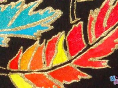 "Pintura en Tela Plumas y Plantillas *Cloth Paint* Pintar Camisetas *T-shirt Painting"" Pintura Facil"