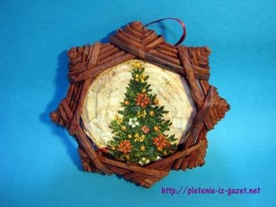 Una estrella navidena  lienzo, adorno navideno, etiqueta, candelero.  Parte 6.1.