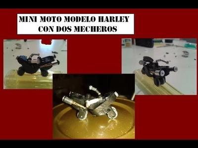 Mini moto modelo Harley con dos mecheros
