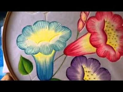 Pintura en tela carpeta pirograbada # 4 con cony