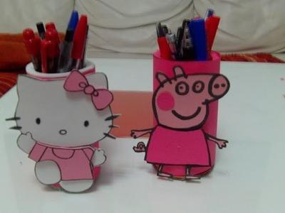 Portalapiceros Peppa Pig con  el tubo de papel higi