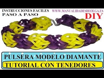 COMO HACER UNA PULSERA MODELO DIAMANTE DE GOMITAS CON DOS TENEDORES. TUTORIAL DIY DIAMOND BRACELET