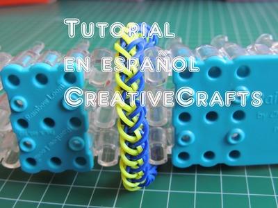 Como hacer una pulsera TRENZA FRANCESA de gomitas SIN TELAR. Rainbow Loom Bracelet.