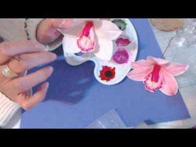 Pintar flores Porcelana fria: Orquidea cymbidium rosada 2da parte