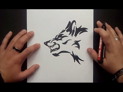 Como dibujar un lobo tribal paso a paso 2 | How to draw a tribal wolf 2