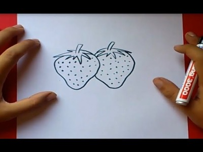 Como dibujar unas fresas paso a paso | How to draw some strawberries