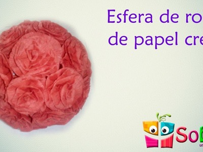 Esfera de rosas de papel crepe