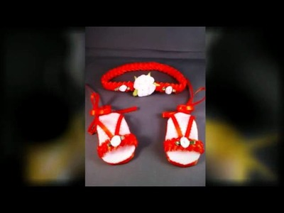 Sandalias y diademas hechas a manos para bebes