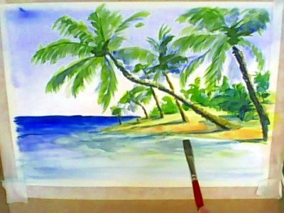 Acuarela paso a paso: Tecnica Acuarela seco sobre seco: Como Pintar con Acuarela una Playa Tropical.