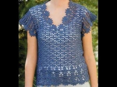 Blusa Azul Calada terminación Abanicos a Crochet