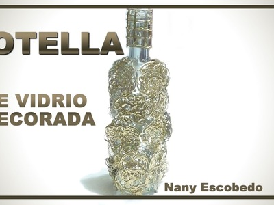 BOTELLA DE VIDRIO DECORADA. DECORATED GLASS BOTTLE