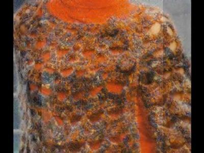 Capa calada punto conchas a crochet