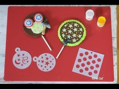 Chupetines de chocolate decorados con Glasé y Estencil -39